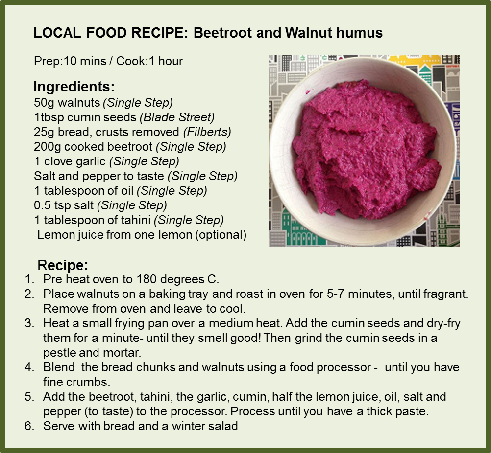 Beetroot and walnut humus