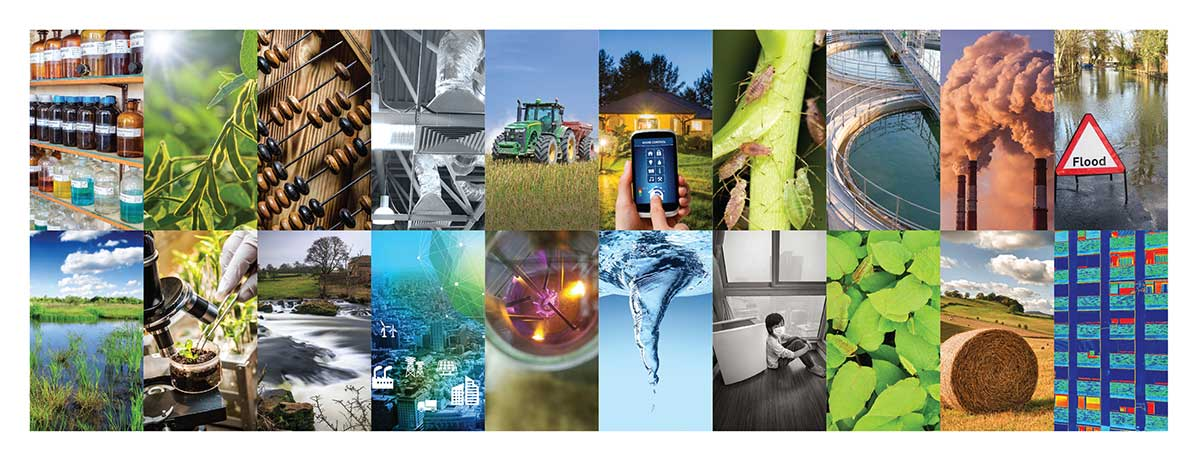 A collection of images representing different businesses and areas of research that CGE works across